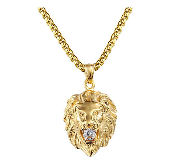 African Lion Necklace Simulated-Diamond Stud Hebrew Israelite Jewelry Leo Silver Chain Judah Lion Head Gold Color Metal Alloy 24in.