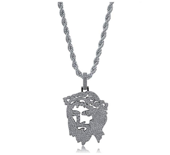 Jesus Face Simulated Diamond Chain Jesus Necklace Piece Hip Hop Jewelry Jesus Face Gold Silver Color Metal Alloy 24in.