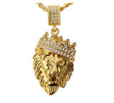 Lion Crown Necklace Lion King Simulated-Diamond African Lion Head Chain Crown Silver Necklace Judah Lion Hebrew Israelite Chain Leo Gold Color Metal Alloy 24in.