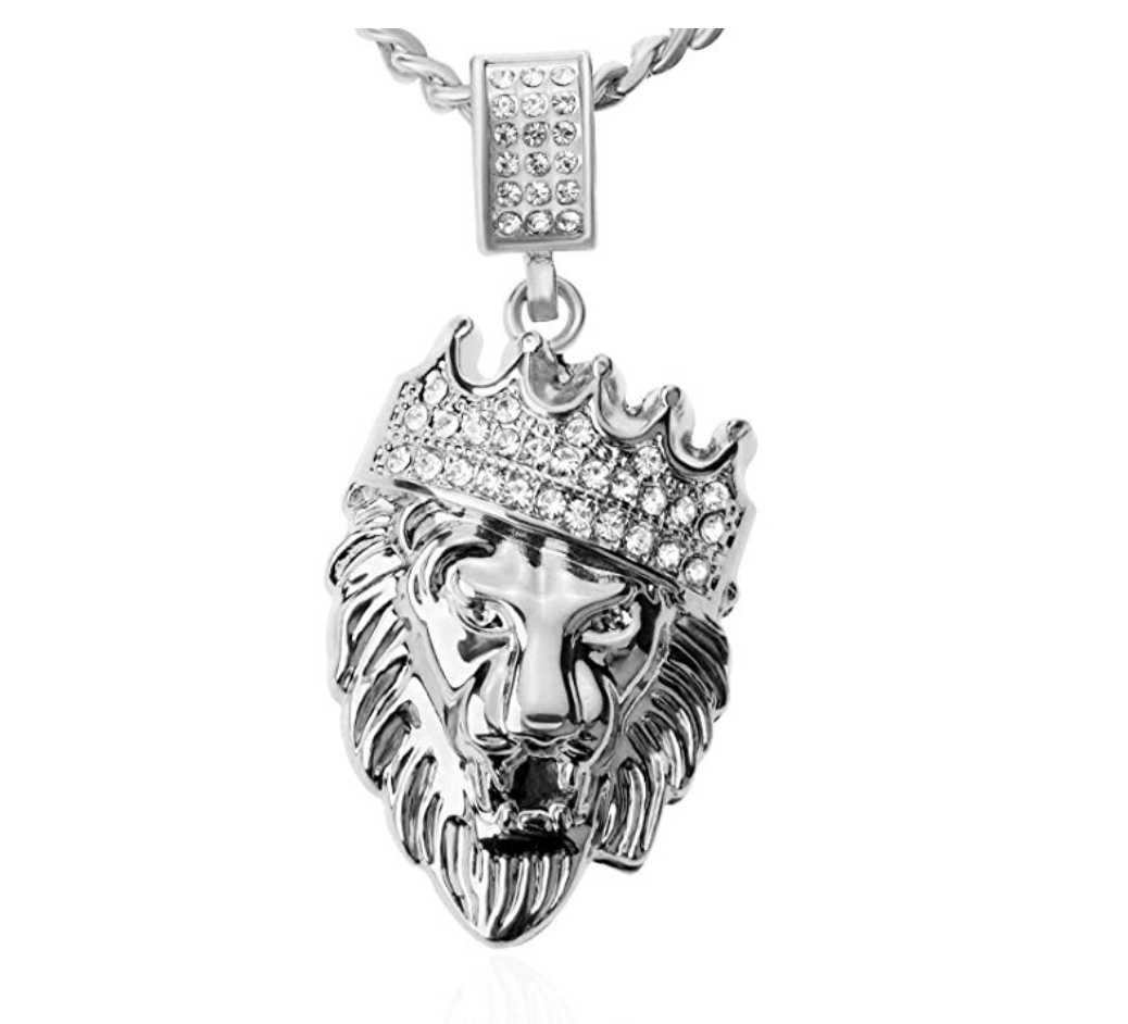 24K Gold Lion Crown Necklace Diamond African Lion Head Chain Crown Silver Necklace Judah Lion Hebrew Israelite Chain 24in.