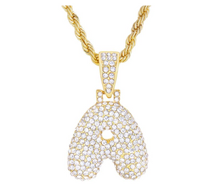 Gold Custom Name Bubble Letter Necklace Diamond Twist Chain Rope Hip Hop Jewelry Letter Pendant