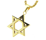 Star of David Necklace Jewish Star Chain Six Point Star Pendant Hebrew Israelite Israel Jewelry Gold Color Metal Alloy 24in.
