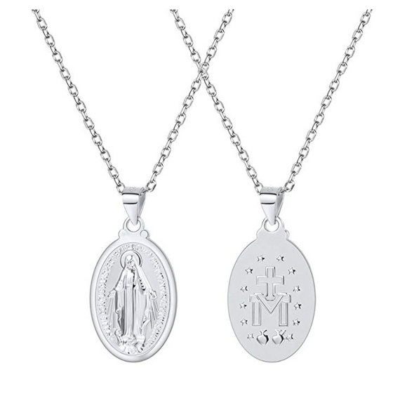 Mary Mother Necklace 925 Sterling Silver Jesus Cross Necklace Holy Catholic Christian Jewelry GIft 22in