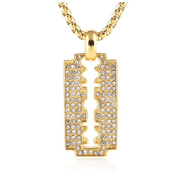 Straight Razor Necklace Blade Iced Out Gold Barber Chain Diamond Blade Hip Hop Bling 24in.