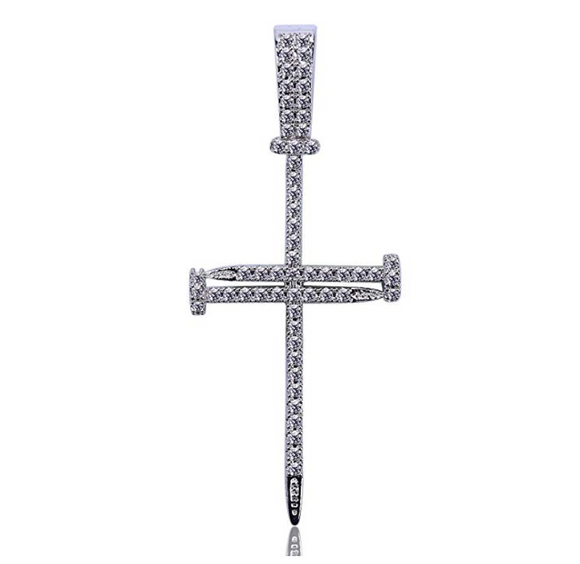Skinny Nail Cross Necklace Simulated Diamond Cross Pendant Tennis Chain Hip Hop Jewelry Small Jesus Nail Cross Gold Silver Color Metal Alloy 24in.