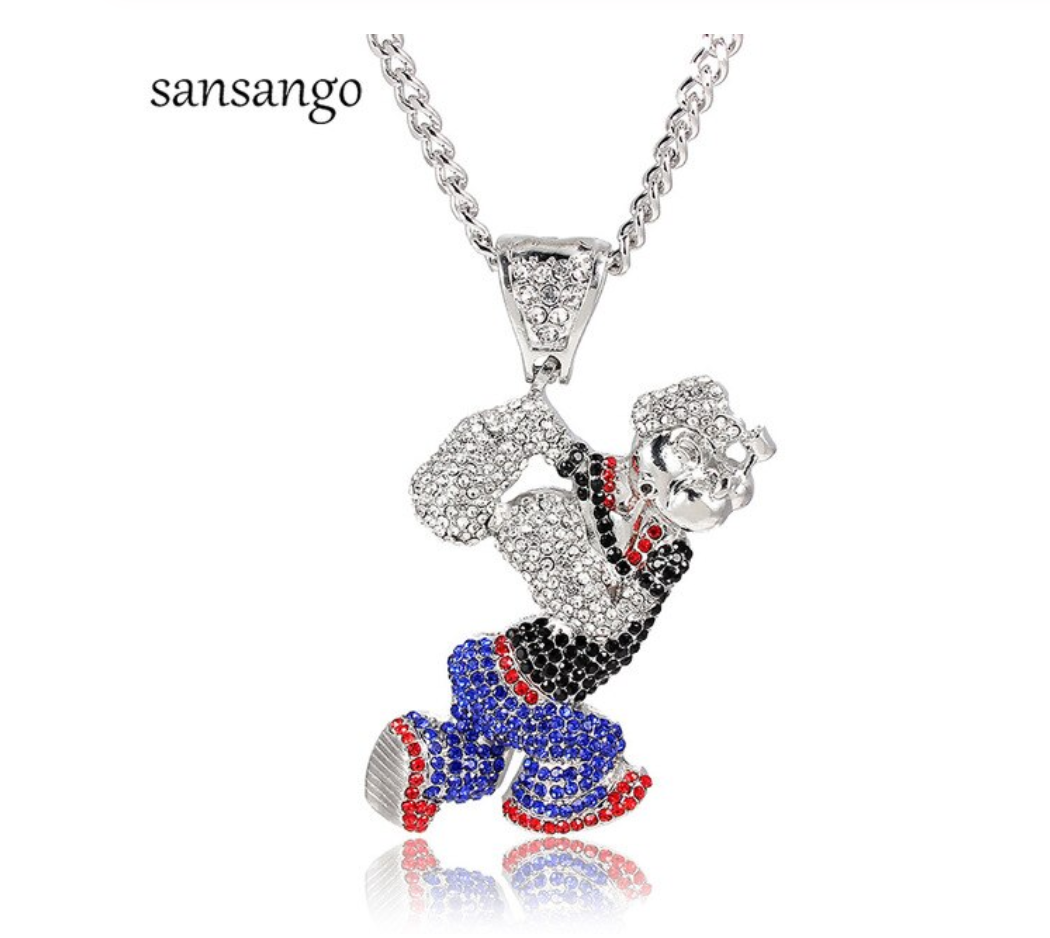 Popeye Necklace Popeye The Sailor Chain Gold Hip Hop Popeye Silver Cartoon Jewelry Popeye Pendant Chain 24in.