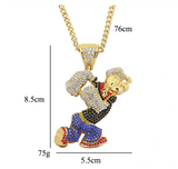 Popeye Necklace Popeye The Sailor Chain Gold Color Metal Alloy Hip Hop Popeye Silver Cartoon Jewelry Popeye Pendant Chain 30in.
