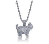 Goat Necklace Hip Hop Jewelry Goat Chain Gold Diamond Goat Necklace Iced Out Silver Bling 24in.