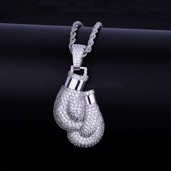 Boxing Gloves Chain Simulated Diamond Boxing Necklace Fighter Jewelry Silver MMA Gold Color Metal Alloy Gloves Chain 24in.