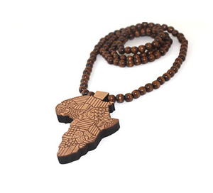 Africa Map Rosary Wooden Beads African Necklace Africa Map Pendant Egyptian 24in.