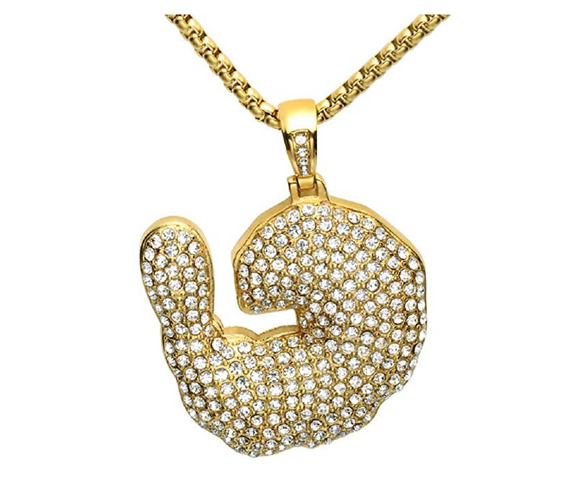 Crayfish Chain Shrimp Gold Color Metal Alloy Simulated Diamond Necklace Supreme Patty Chain Silver Necklace Hip Hop 24in