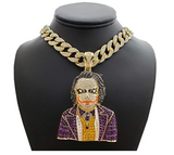 The Joker Necklace Simulated Diamond Cuban Link Choker Chain Hip Hop Bling Batman Jewelry 18in