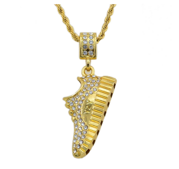Yeezy Shoe Chain Kanye West Necklace Simulated Diamond Twist Rope Chain Hip Hop Jewelry Gold Color Metal Alloy 24in.