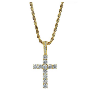 Jesus Cross Pendant Necklace Cross Hip Hop Chain Holy Christian Jewelry Simulated Diamond 24in.