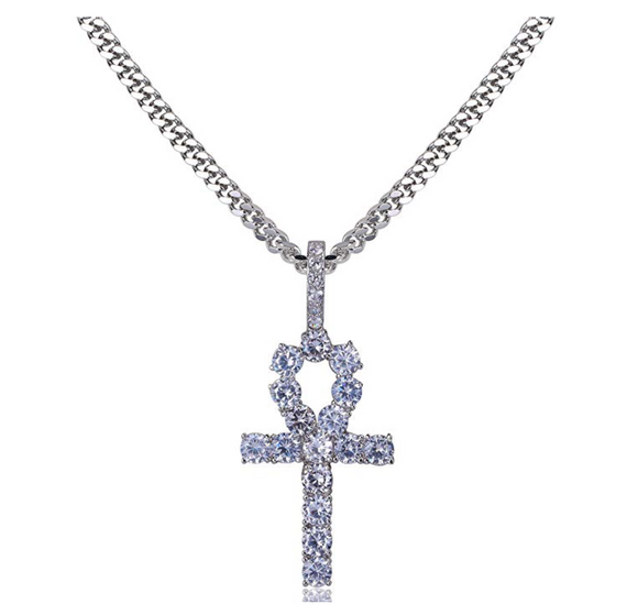 Egyptian Ankh Necklace Key Of Life Pendant Ankh Gold Necklace Diamond African Jewelry Silver Chain