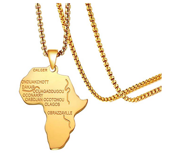 Africa Map Necklace African Map Pendant Chain Egyptian Jewelry Silver Chain Gold Color Metal Alloy 24in.