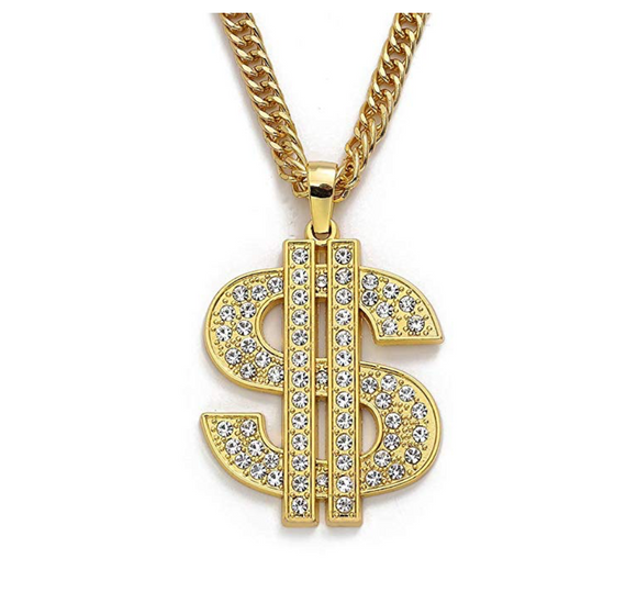 Money Necklace Gold Color Metal Alloy Cash Money Chain Simulated Diamond Dollar Sign Chain Hip Hop Jewelry 30in.