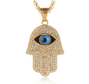 Hand of Fatima Necklace Hamsa Hand Chain Blue Evil Eye Kabbalah Islamic Muslim Simulated Diamond Jewelry Gold Color Metal Alloy 24in.
