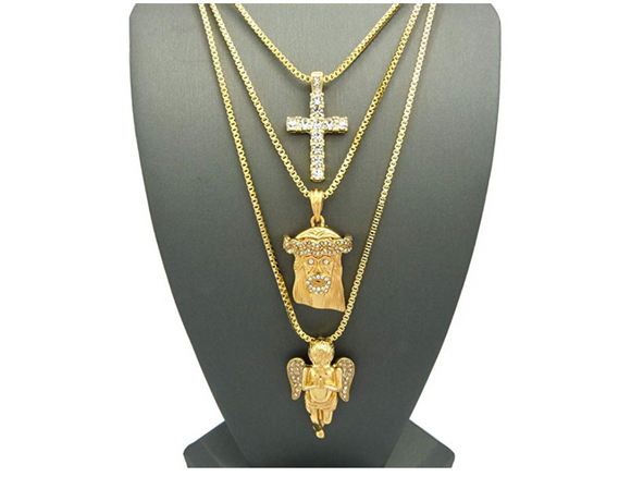 Jesus Face Chain Holy Angel Cross Necklace Set Simulated Diamond Gold Color Metal Alloy Christian Chain Hip Hop Jewelry Jesus Piece Set