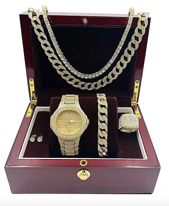 Gold Color Watch Simulated Diamond Watch Bundle Bracelet Cuban Link Necklace Tennis Chain Ring Earrings Gift Set