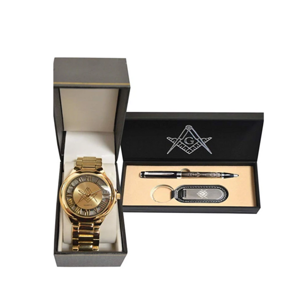 Gold Tone Freemason Watch Free Accepted Master Mason Masonic Regalia Pen And Keychain Set