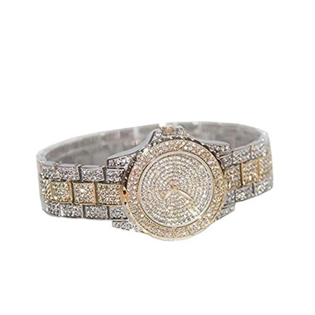 Gold & Silver Two Tone Diamond Watch Hip Hop Jewelry Bust Down Iced Out Watch Bling