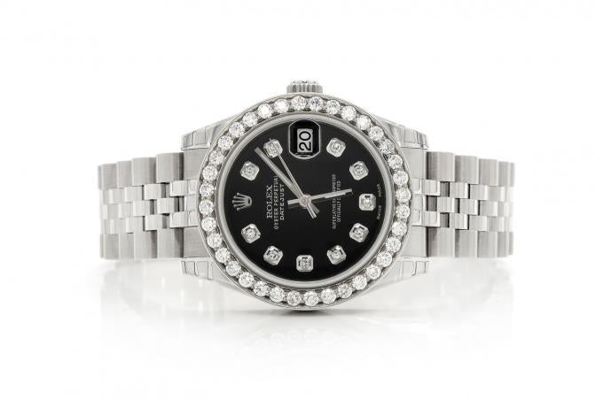 1.69CTW DIAMOND PRE-OWNED ROLEX DATEJUST 31MM JUBILEE BAND ROLEX WATCH BLACK FACE SILVER ROLEX STAINLESS STEEL