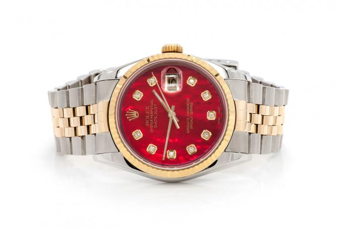 18K GOLD TWO-TONE ROLEX DATEJUST 36MM RED FACE SILVER ROLEX STAINLESS STEEL JUBILEE BAND ROLEX WATCH