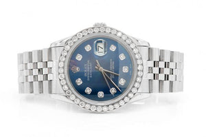 2.11CTW DIAMOND PRE-OWNED ROLEX DATEJUST 36MM BLUE FACE SILVER ROLEX STAINLESS STEEL JUBILEE BAND ROLEX WATCH