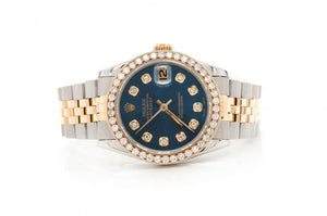 18K GOLD TWO-TONE ROLEX 2.11CTW DIAMOND DATEJUST 36MM PRE-OWNED BLUE FACE SILVER ROLEX STAINLESS STEEL JUBILEE BAND ROLEX WATCH