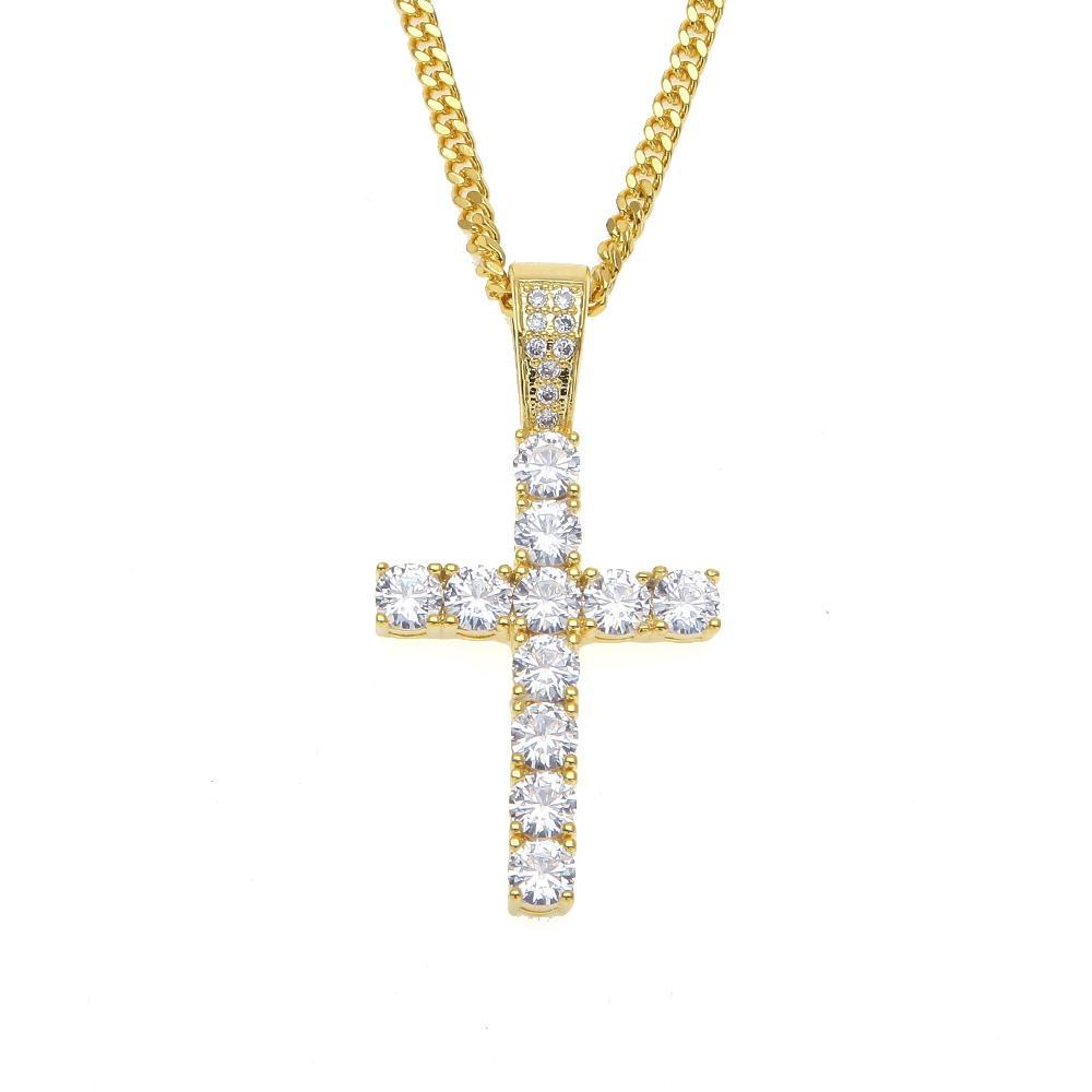 Silver Jesus Cross Pendant Necklace Diamond Cross Gold Chain Christian Jewelry Gift Holy Cross 24in.