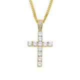 Silver Jesus Cross Pendant Necklace Cross Gold Chain Christian Jewelry Gift Holy Cross Simulated Diamond 24in.