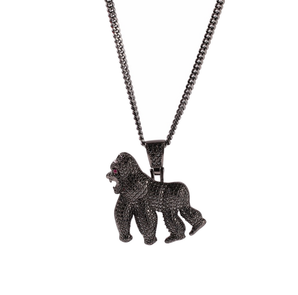 Gorilla Necklace Diamond Black Ape Chain Silver Hip Hop Bling Jewelry Monkey Gorilla Chain Gold Color Metal Alloy 24in.