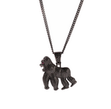 Gold Gorilla Necklace Diamond Black Ape Chain Silver Hip Hop Bling Jewelry Monkey Gorilla Chain 24in