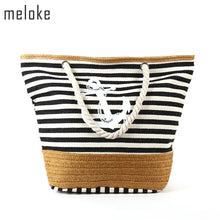 Load image into Gallery viewer, Casual Meloke 2019 Beach Bag Canvas/Straw