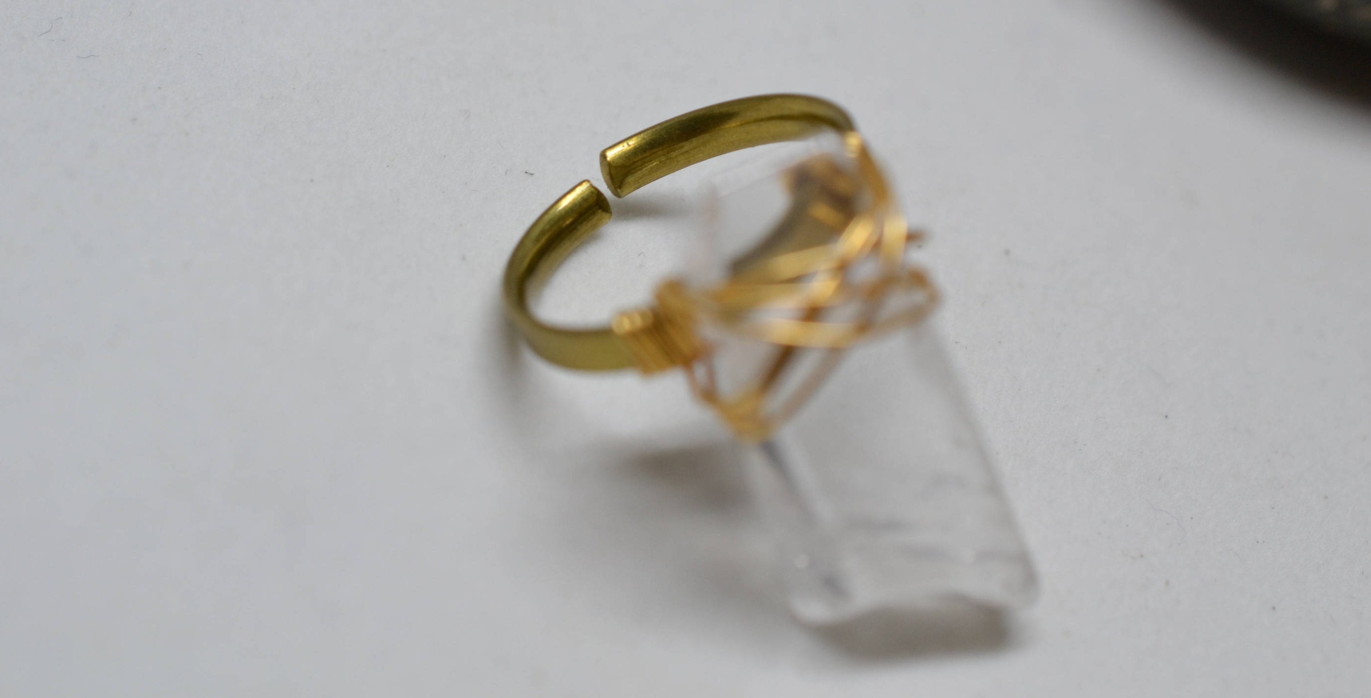 Adjustable Brass Wire Wrapped Clear Quartz Crystal Ring