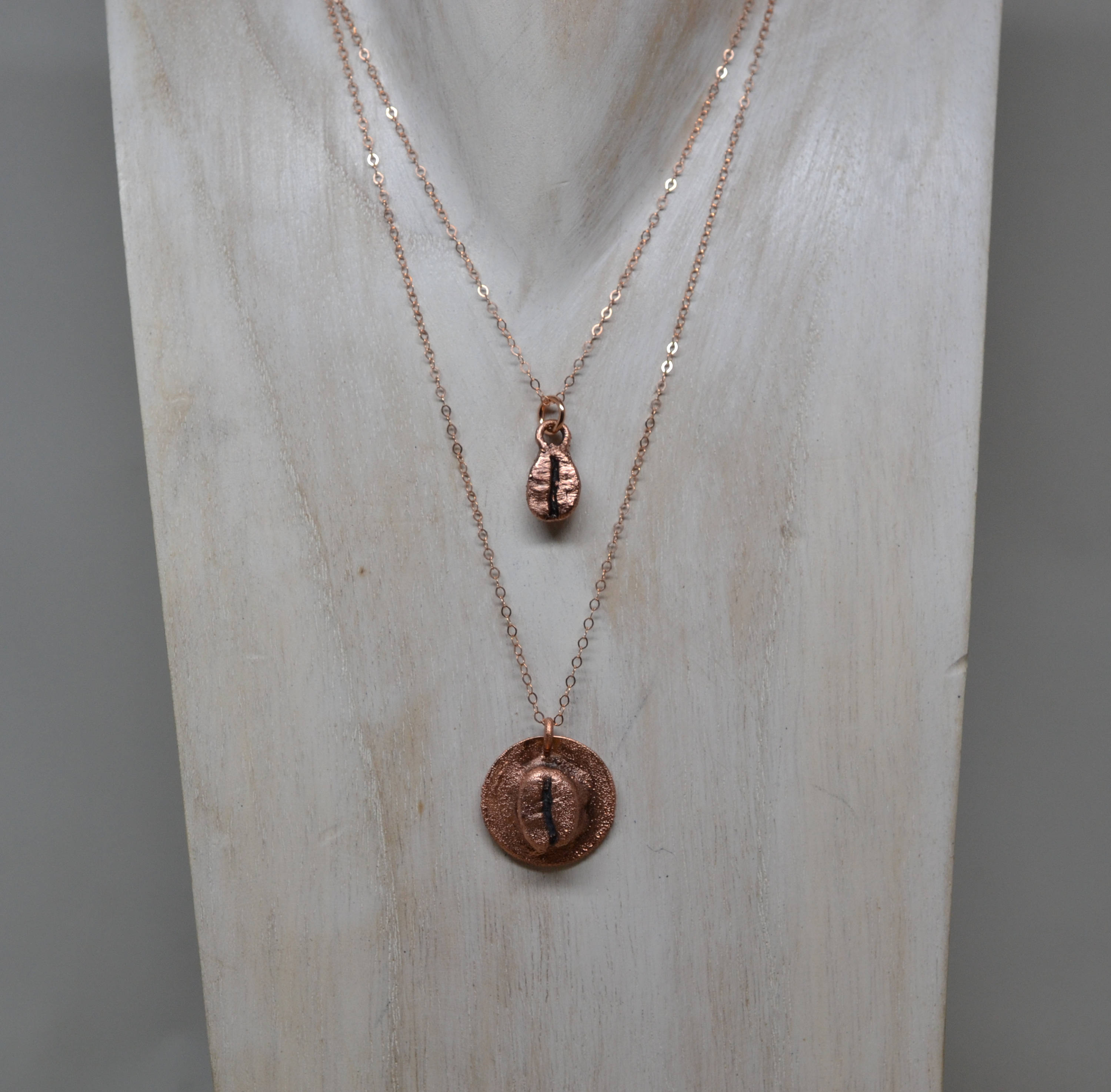 Copper Coffee Bean Necklace ||Made to Order||