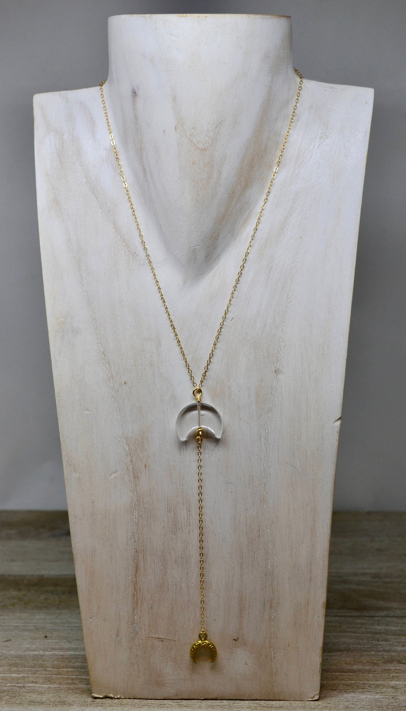 Crescent Clear Quartz Moon Necklace