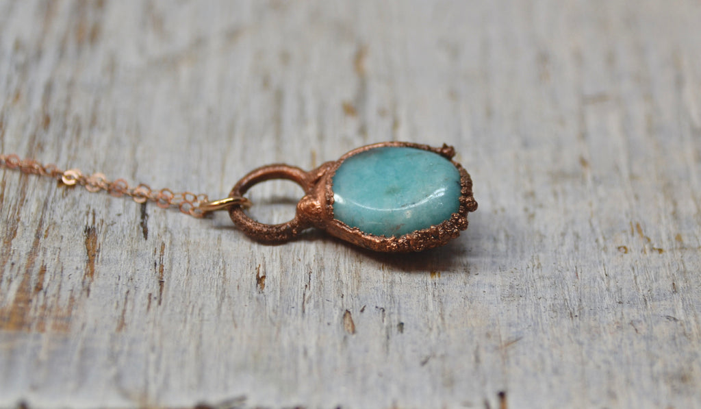 Copper Amazonite Necklace || Made to Order||