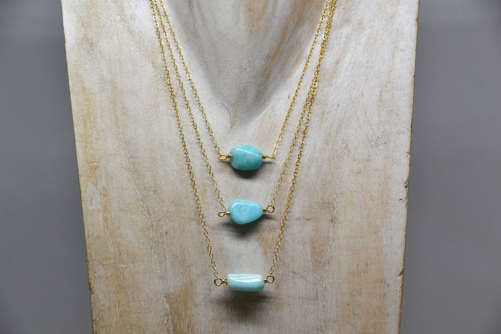 Gold Amazonite Necklace| 14k Gold Filled|