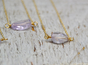 14k Gold Filled Amethyst Necklace | February Birthstone