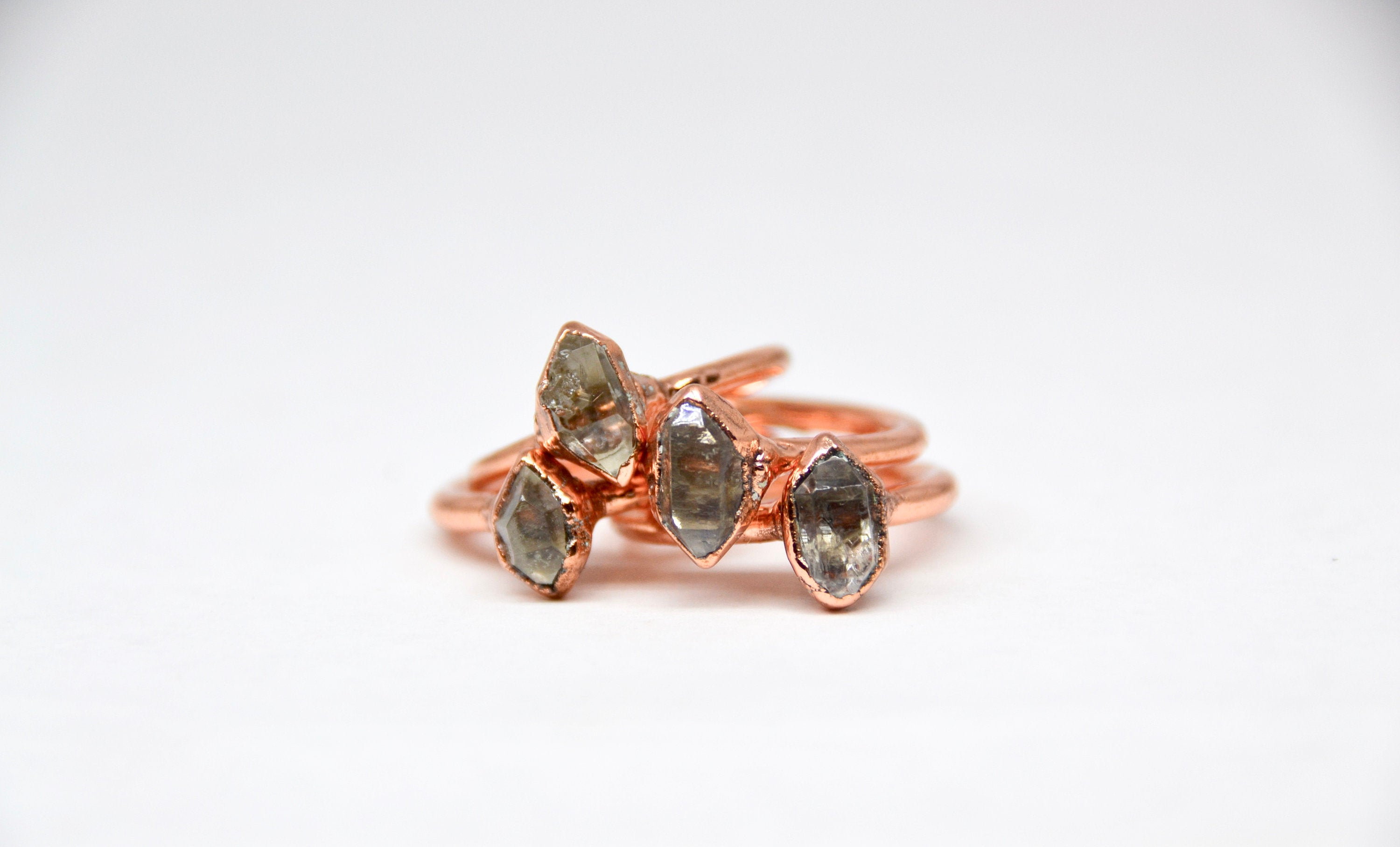 Raw Diamond Ring| Herkimer Diamond| April Birthstone | Made to Order |