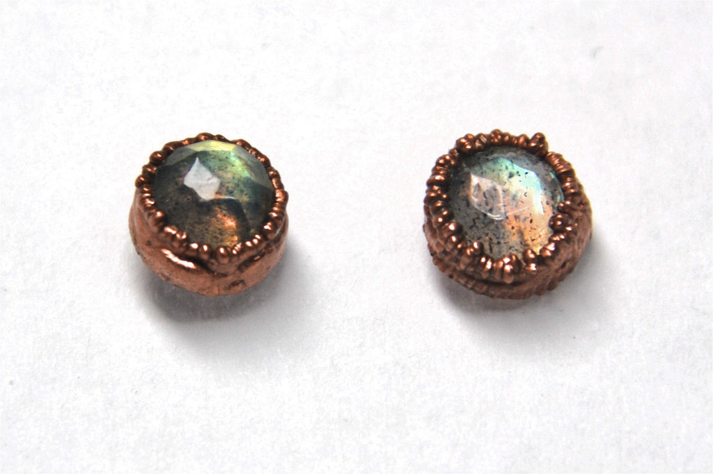 Faceted Labradorite Studs Copper