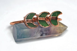 Green Aventurine Moon Ring Copper
