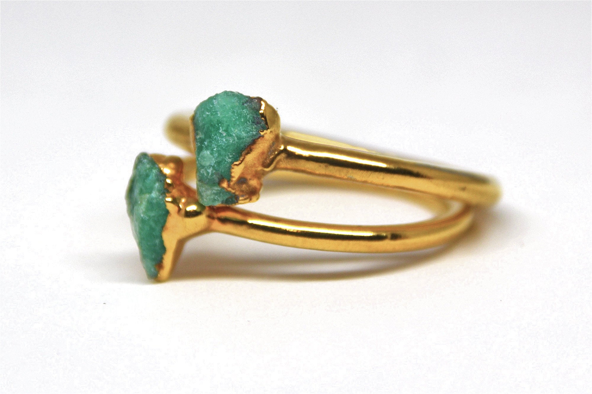 Gold Raw Emerald Ring | Emerald Ring| May Birthstone |