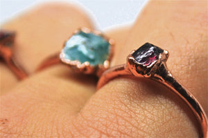 Raw Copper Garnet Ring| Raw Garnet Ring| Garnet Ring| January Ring|