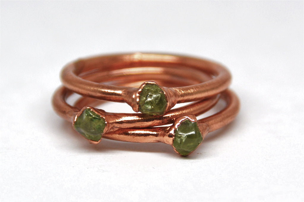 Dainty Copper Peridot Ring | August Birthstone