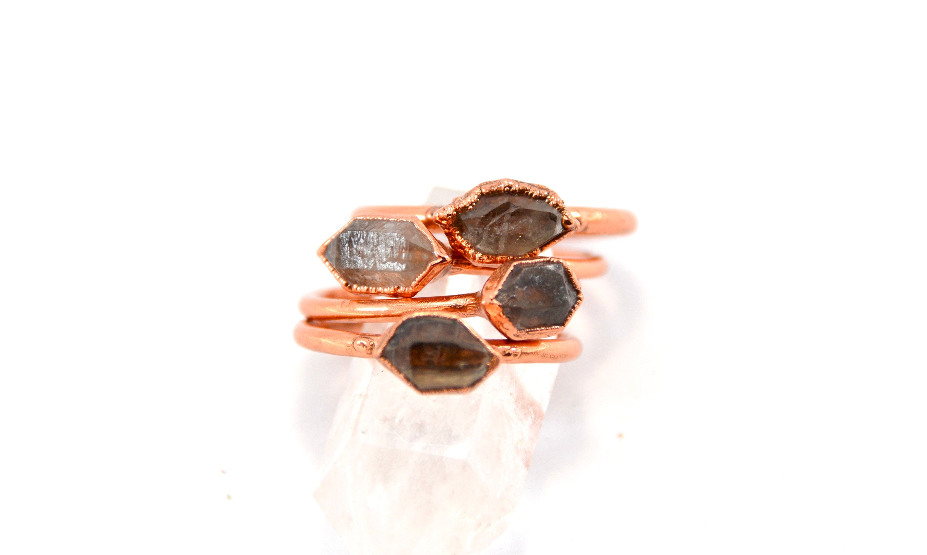 Raw Herkimer Diamond Ring | Copper Raw Diamond Ring | Birthstone ring | April Birthstone