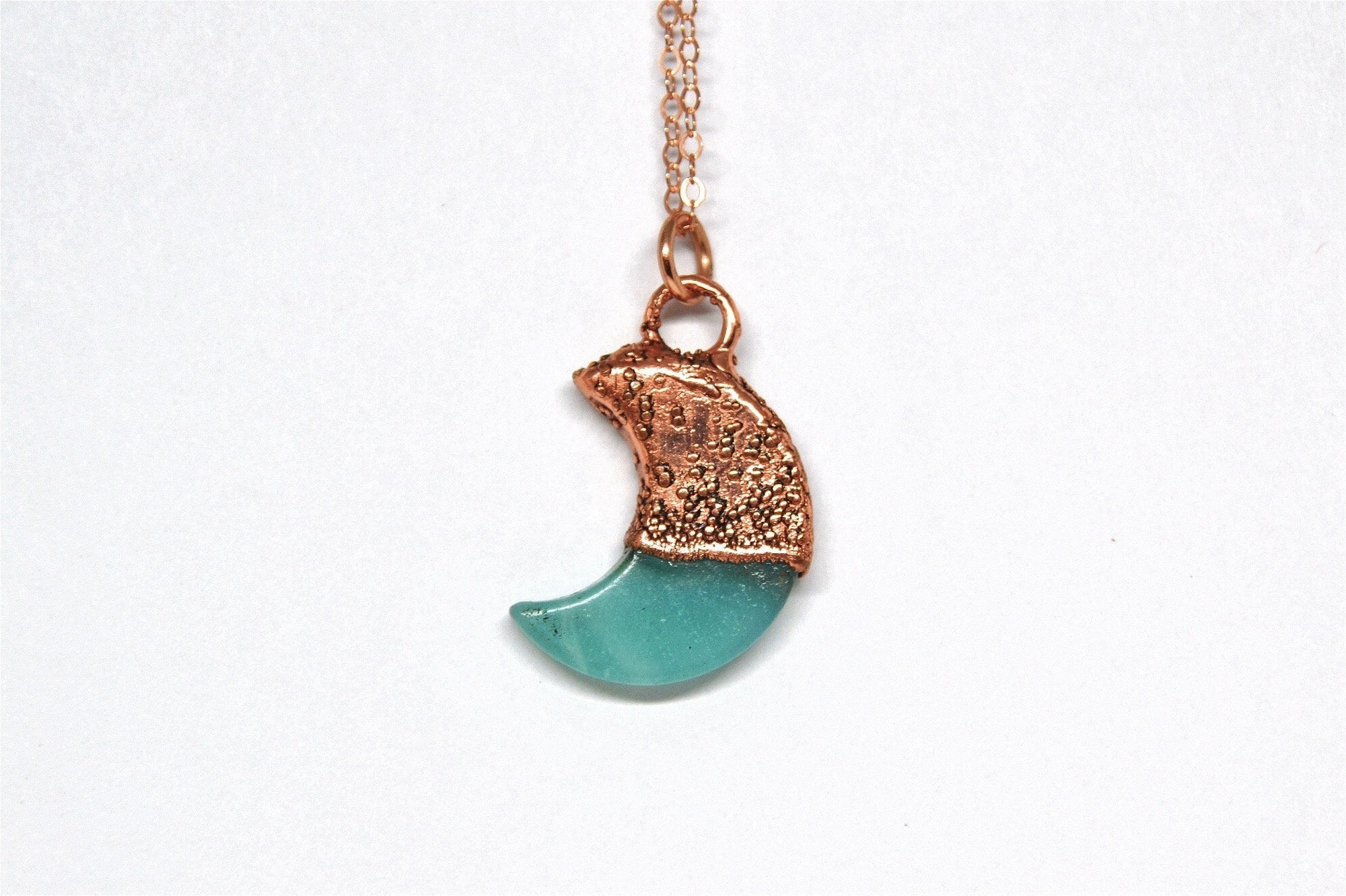 Amazonite Crystal Moon Necklace Copper