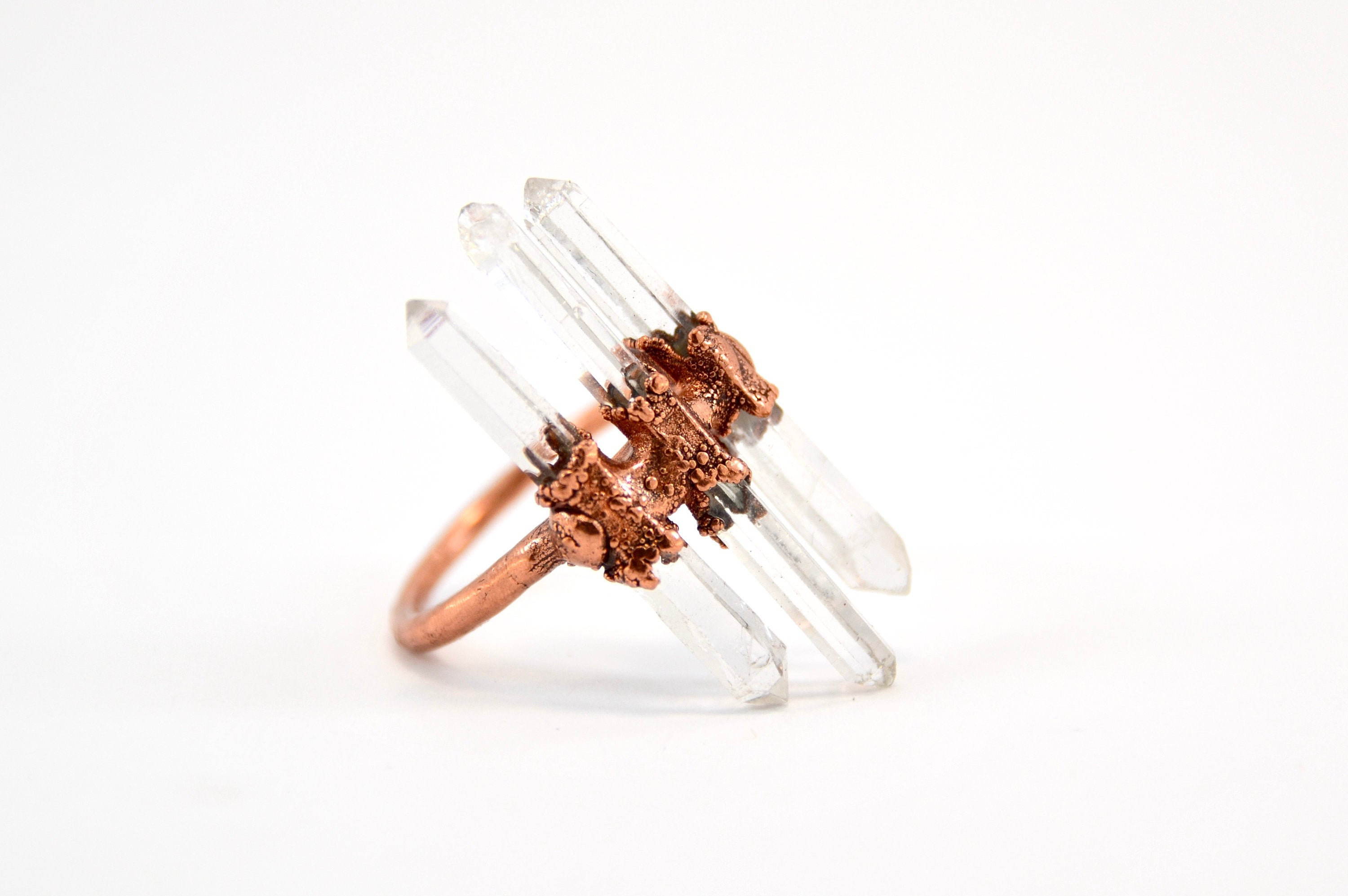Three Stone Raw Quartz Ring | Goddess Quartz Ring |